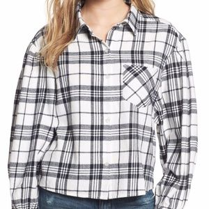 NWT BP Puff Sleeve Plaid Top M Oversized Flannel